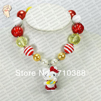 1set/6pcs little lovely cat chunky bubblegum solid beads statement kids necklace new arrival