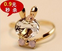 Free shipping!   Fashion Lovely bowknot crystal rabbit ring