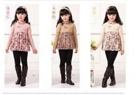 2013 autumn/winter children's sweater garment dress girls lace cuhk child girls hair dress--AU019