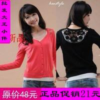 Air conditioning shirt short sweater female cardigan thin summer small lap knitted summer cutout long-sleeve shirt free shipping