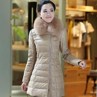 2013 large fox fur genuine leather clothing slim medium-long down coat female