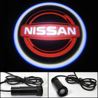 LED car logo Shadow Light For Sunny TIIDA X-Trail Teana Livina Qashqai Nissan logo light led door prejection welcome light Red