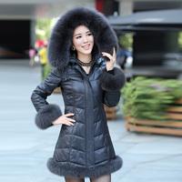 Genuine sheepskin leather down coat fox fur hat tie slim medium-long genuine leather female clothing