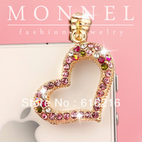ip401 Cute Crystal Heart Dust Proof Phone Plug Cover Charm For iPhone Cell Phone