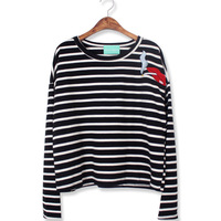 New Winter High Quality Street Stylish Red Lips With Smoking Cross Stripe Long Sleeve T-Shirt 2 Colors Shirt