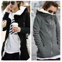 Autumn and winter loose hooded medium-long plus size plus velvet thickening cardigan sweatshirt Women SEMIR outerwear