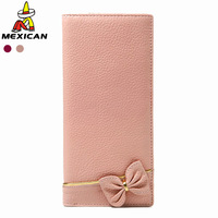 Women's wallet sweet cute-type big bow long wallet design 3120301 pink long design
