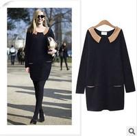 Free Shipping 2014 Winter New Doll Collar Loose Dress Women's plus Size Dresses Autumn Winter knit Dress  Wholesale dresses5004