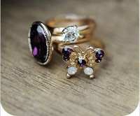 Free shipping!   Fashion restore ancient ways wings elegant gem butterfly ring