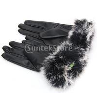 Free Shipping Women Warm Rabbit Fur + PU Leather Full Finger Gloves - Black
