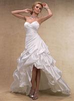 A-Line Sweetheart Neck  Floor-Length Satin Ruched  Wedding Dress  HWGJWD60