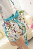 2014 autumn flower bags bucket bag one shoulder cross-body women's handbag tassel drawstring bag