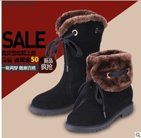 Free Shipping 2013 Winter New Arrive Good Quailty Warm Flat Genuine Leather Short Snow Boots Women  9602