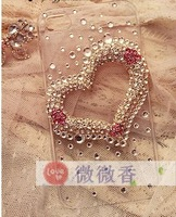 New Hot Fashion Shiny Cute 3D Transparent heart phone Case fit for Apple iPhone 5 cell phone back cover case