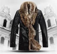 Free shipping Selling men's brand leather jacket , high-grade sheep fur coat , men's winter lapel fur coat ,BLACK,M-5XL