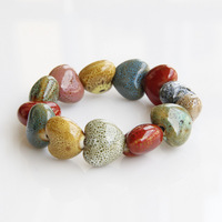 Jingdezhen Ceramic Bracelet Jewelry Multi-colored Candy Beads Bangles