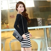 2013 A new type of dress slim slim stripe mosaic fitting long sleeved dress shirt