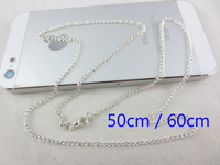 Global Free Shipping Hot Fashion Women 0.6mm Silver Twist Chain 19.7 in. (50cm)  23.6 in.(60cm) Dog Tag Keychain