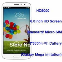New Arrival 6.0inch HD Screen for GT-i9152 Galaxy Mega MTK6589 Quad Core Android4.2 HD9000 Phone 12MP Camera