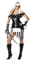 2013 Hot Sale Sexy Adult Women Cyclops Skull Caribbean Pirate Costume Black Fancy Dress Halloween Outfit Free Shipping