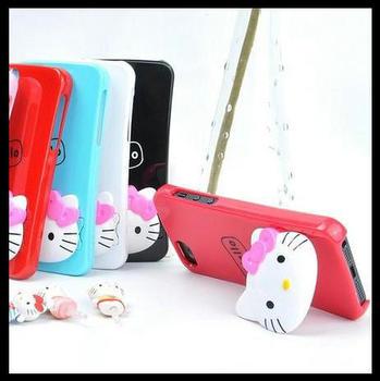 Lovely Bowknot Hello Kitty KT Cat Standing Holder Plastic Dust Plug Case Cover For Apple Iphone 4 4S 5 5G 10PCS/LOT