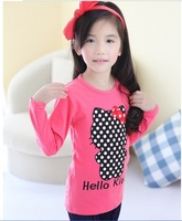 Free shipping wholesale 2013 new autumn girl's long sleeve t-shirt cartoon hello kitty cotton girl's t shirt pink and green