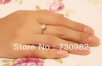 pure 14k yellow gold ring supperchain small hollow flower  birthday engagement gift free shipping