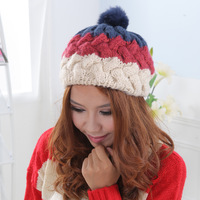 Autumn and winter female color block decoration sphere coarse knitted hat ear ball thermal knitted beret mz-5