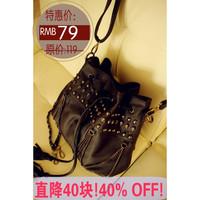 2013 new Tassel bag rivet chain punk skull bucket drawstring women's handbag messenger bag