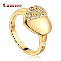 Love Heart Yellow Gold Rings for women,Micro-Inseted with AAA Zircon Crystal,Christmas gift,Fashion Wedding Jewelry