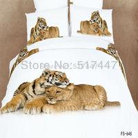 FS-645 leopard animals bedding set 4pcs king queen size duvet quilt bed covers 100% cotton 3d oil painting comforters bedclothes