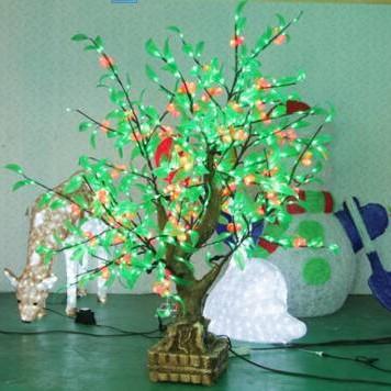 LED Christams Tree 1.2*0.8M 55w Christmas Decorative Artifical Bonsai Tree Light Of Cherry fruit Garden Landscape Free Shipping(China (Mainland))