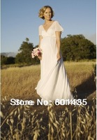 Freeshipping! WR8892 Open Back Short Sleeves V Neck Chiffon Empire Waist Plus Size Maternity Wedding Dresses for Pregnant Woman