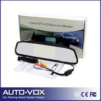 Hot!4.3'' Car Color TFT LCD Monitor 16:9 screen Car Reverse Mirror Monitor System Free shipping