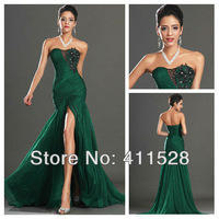 2014 New Sexy long ruched side slit open back green chiffon formal evening gown prom dress