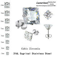 Clear Stud Earrings,Brilliant Square Cut Cubic Zirconia Stainless Steel - Sizes 3mm To 10mm(20pieces/10pairs)$250 Free DHL/Fedex