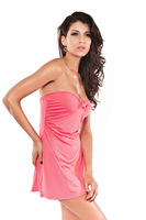 Dl pink bow tube top sexy summer fashion sexy beach dress 40371 skirt