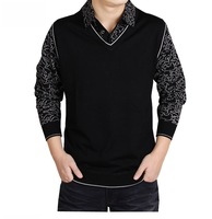 Men's spring and autumn thin sweater, fake two men's long sleeve turn-down collar knit shirts. Wholesale and retail.C-22