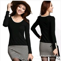 Free Shipping Long Sleeve Dresses Women new Korean Tops for Ladies Plus size fashion Slim Sexy striped mini OL dress Skirt