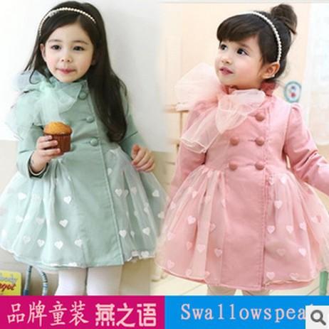 girls tench coats girl's windbreaker girls pink blue heart dot cute coats outwear outer wear jackets(China (Mainland))