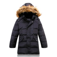 2013 new arrival winter child coat fur-trimmed boy down jacket with fur hooded long down jackets for kids 5 Color
