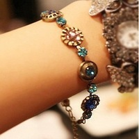 12204 accessories vintage accessories multi-colored gem fashion connected set bracelet