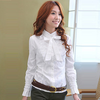 2014 New Autumn hot  Fashion Women Clothes Plus size Casual Career Slim blouse Wild sweet lace long-sleeved shirt
