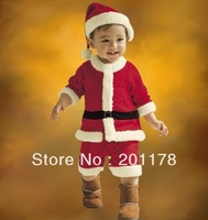 free shipping baby boy's Xmas suits boy romper+hat retail sales 300