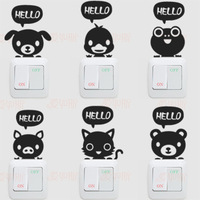 Small animal hello switch stickers switch decoration wall stickers cartoon at home furnishings