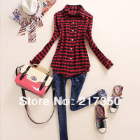 free shipping 8807 autumn winter new release cowboy material  winter OL women blouses T-shirt water wash Grid, gorgeous