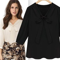 Autumn jooen sweet bow chiffon top three quarter sleeve chiffon shirt