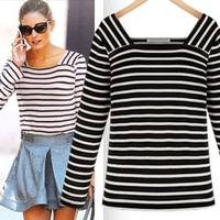 Autumn jooen fashion classic stripe long-sleeve basic shirt women's stripe t-shirt
