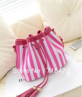 2013 women's handbag stripe canvas bag string tassel hangings handbag fashion bag free shipping