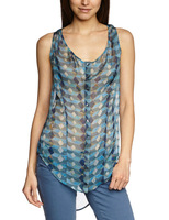 Women Sleeveless Blouse Blue - Blau (Blue Briquette